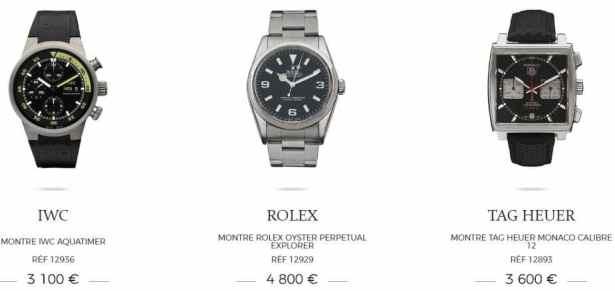 IWC, Rolex, TAG HEUER à partir de 3100€