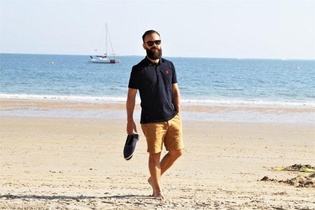 look-plage-tendance-style-polo-aristow-bleu-marine