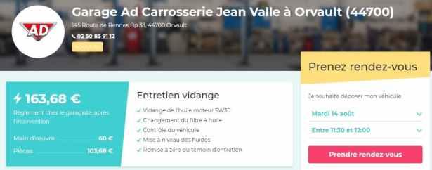 Vroomly : Exemple de transparence pour un Entretien vidange<br /> dans le garage AD à Orvault