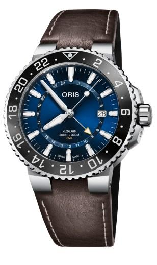 Montre Oris Aquis GMT Date bracelet cuir marron