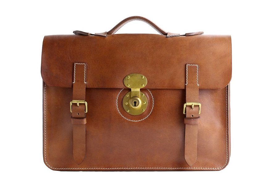 Porte-documents en cuir marron