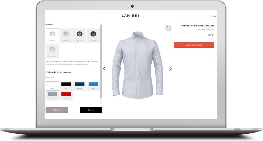 Personnalisation de ma chemise sur mesure avec le choix des boutons