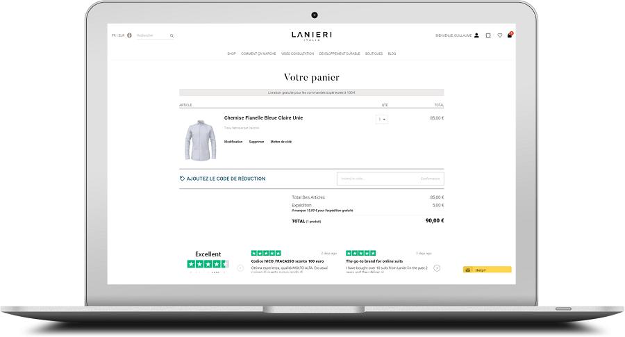 Chemise sur mesure : valider et payer votre panier avant de prendre vos mesures