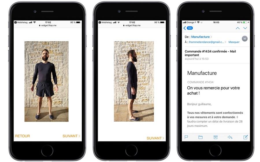 Photos de face et de profil pour une prise de mesure via intelligence artificielle - plus besoin de sortir le mètre de couture !