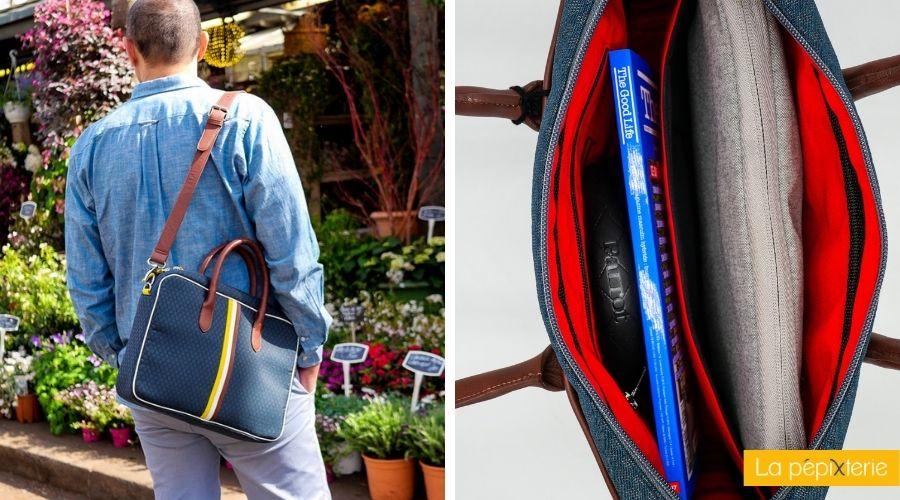 Une sacoche rétro-chic, réalisée à partir de tissus automobile upcyclés