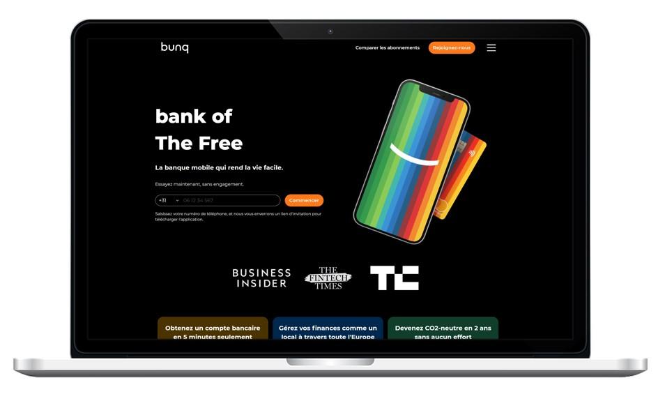 Site internet de la néo-banque bunq
