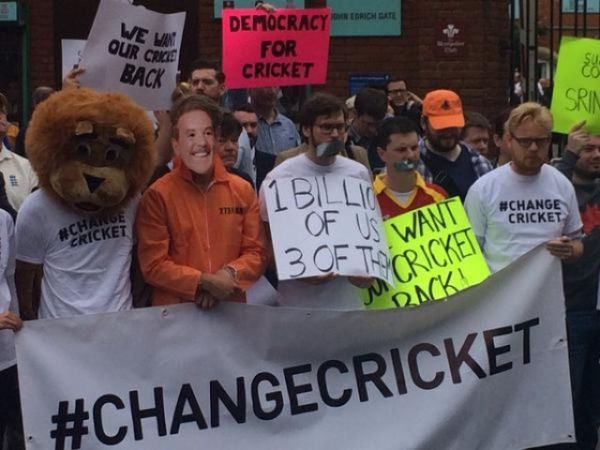 "Dozens of demonstrators gathered outside The Oval in protest against ""Big Three""."