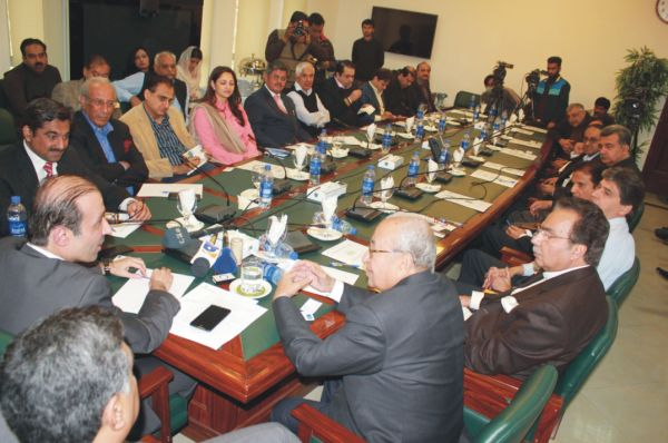 Chairman TEVTA talking to Renowned Industrialists of Pakistan at TEVTA secretariat