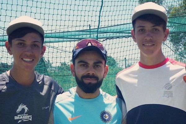 Duan and Marco Jansen with Virat Kohli