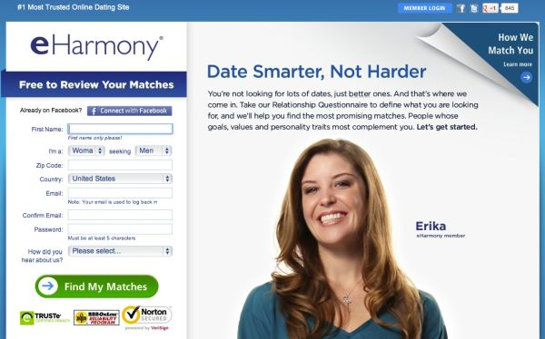 The eHarmony Login dating website