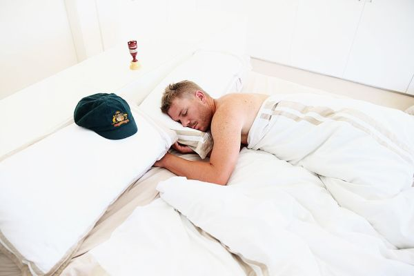David Warner sleeping