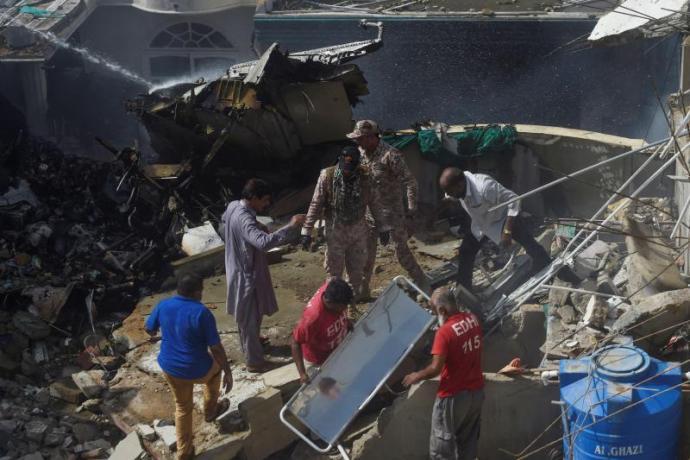 Karachi PIA plane crash site