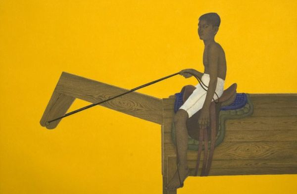 Ali Kazim, Shah-Savar (a good rider). Pigment on wasli paper, 72cm x108cm.