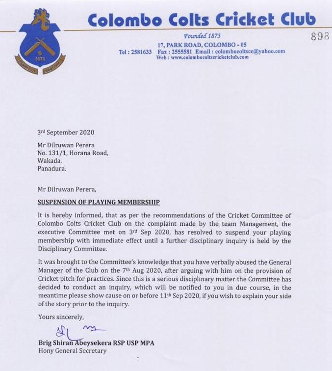 Dilruwan Perera letter
