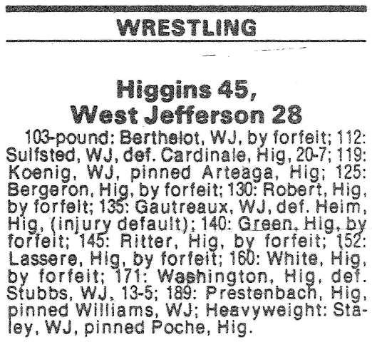 Louisiana High School Wrestling Archives