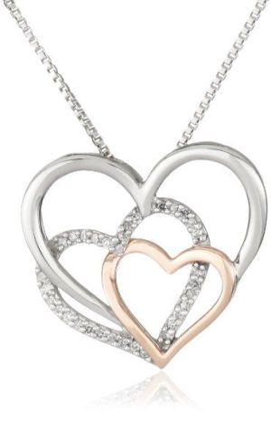 XPY Sterling Silver, 14k Rose Gold, and Diamond Triple Heart Pendant Necklace
