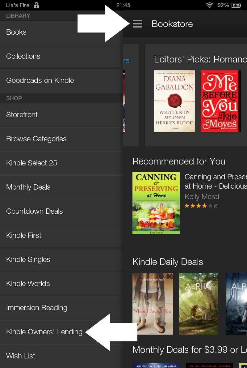 How to borrow ebooks from Kindle Owners' Lending Library on your Kindle Fire - menu
