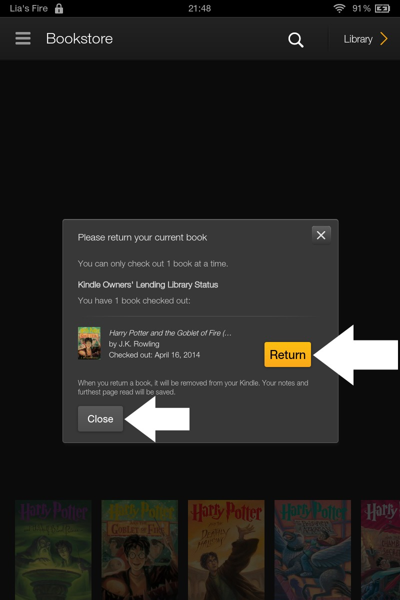 How to borrow ebooks from Kindle Owners' Lending Library on your Kindle Fire - return or close