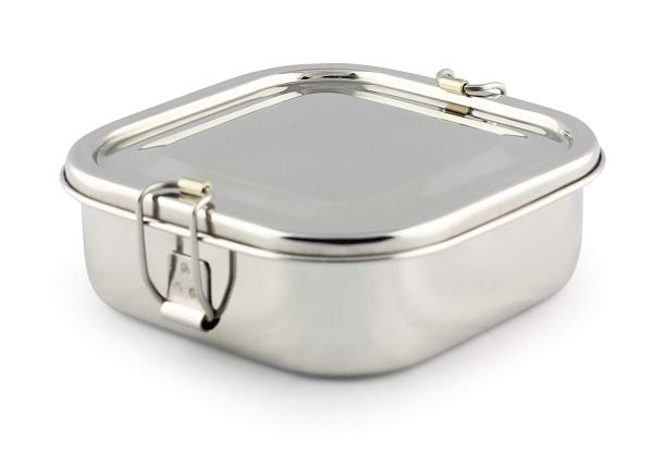 Cal Tiffin Stainless Steel Square Bento Lunchbox 25 oz, 2-compartment, Eco-friendly, Dishwasher Safe, BPA-free