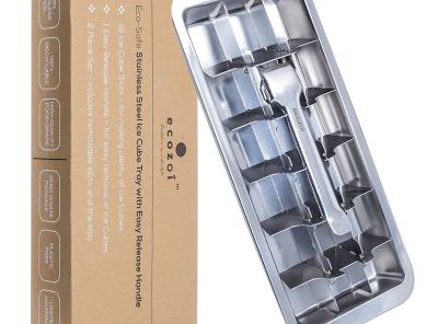 Ecozoi Stainless Steel Metal Ice Cube Tray with Easy Release Handle