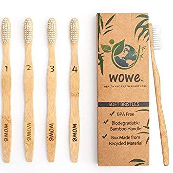 Wowe Natural Organic Bamboo Toothbrush with BPA-Free Bristles - Pack of 4