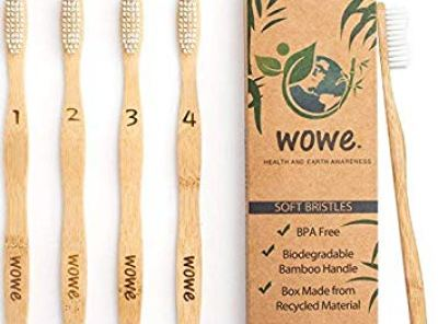 Wowe Natural Organic Bamboo Toothbrush with BPA-Free Bristles - Pack of 4