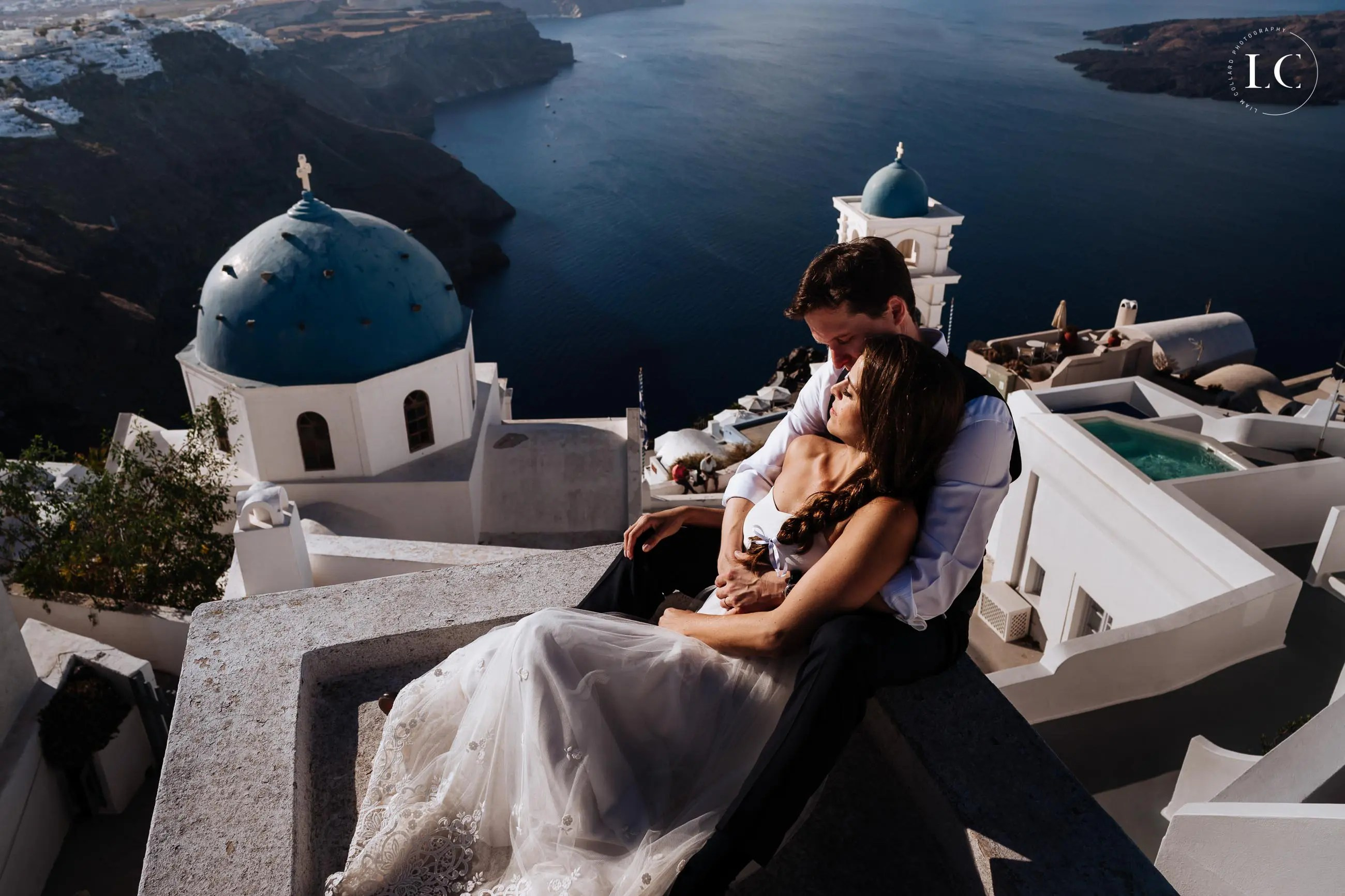 Couple embracing in Santorini
