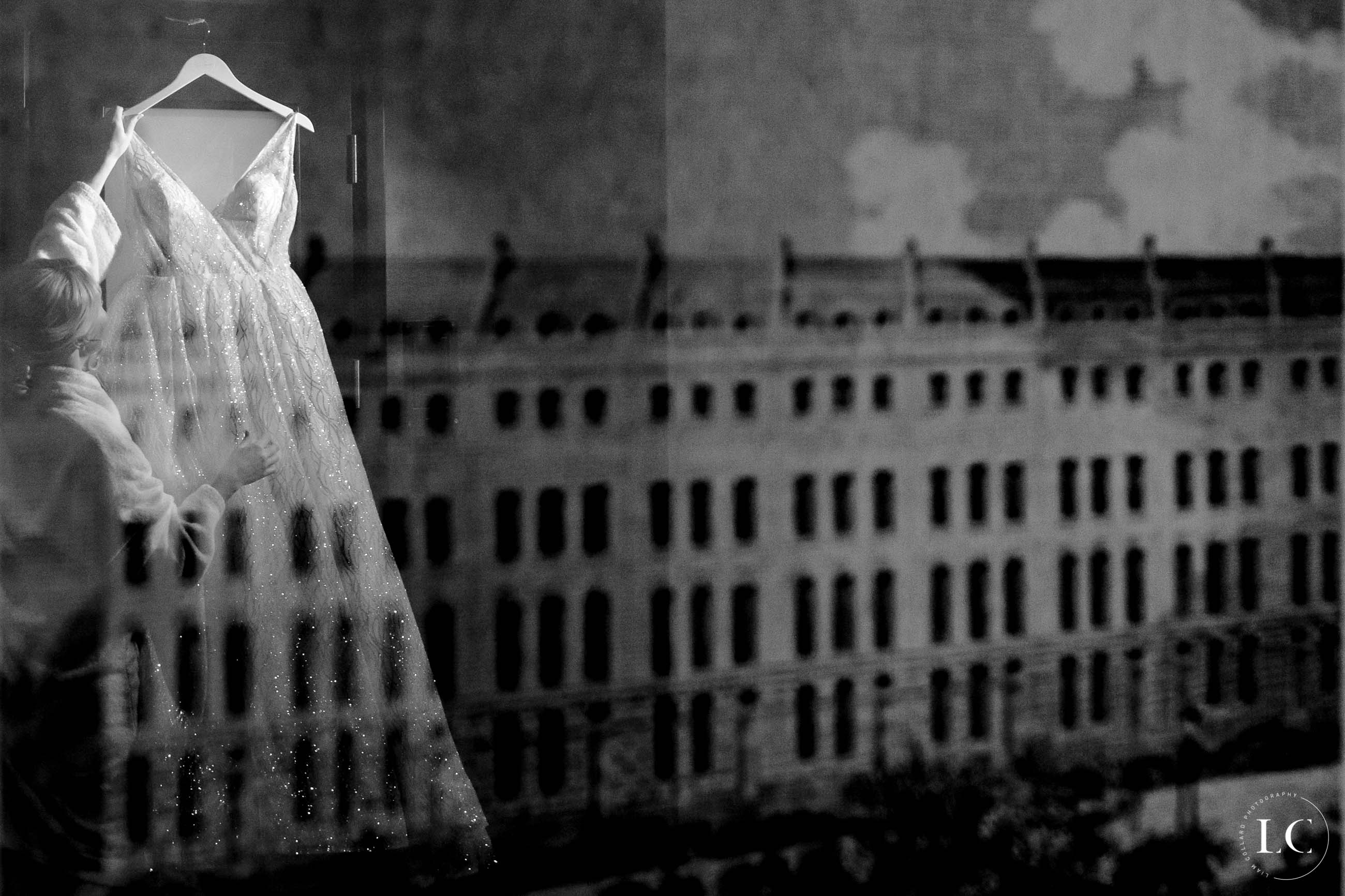 Reflection of bride and building