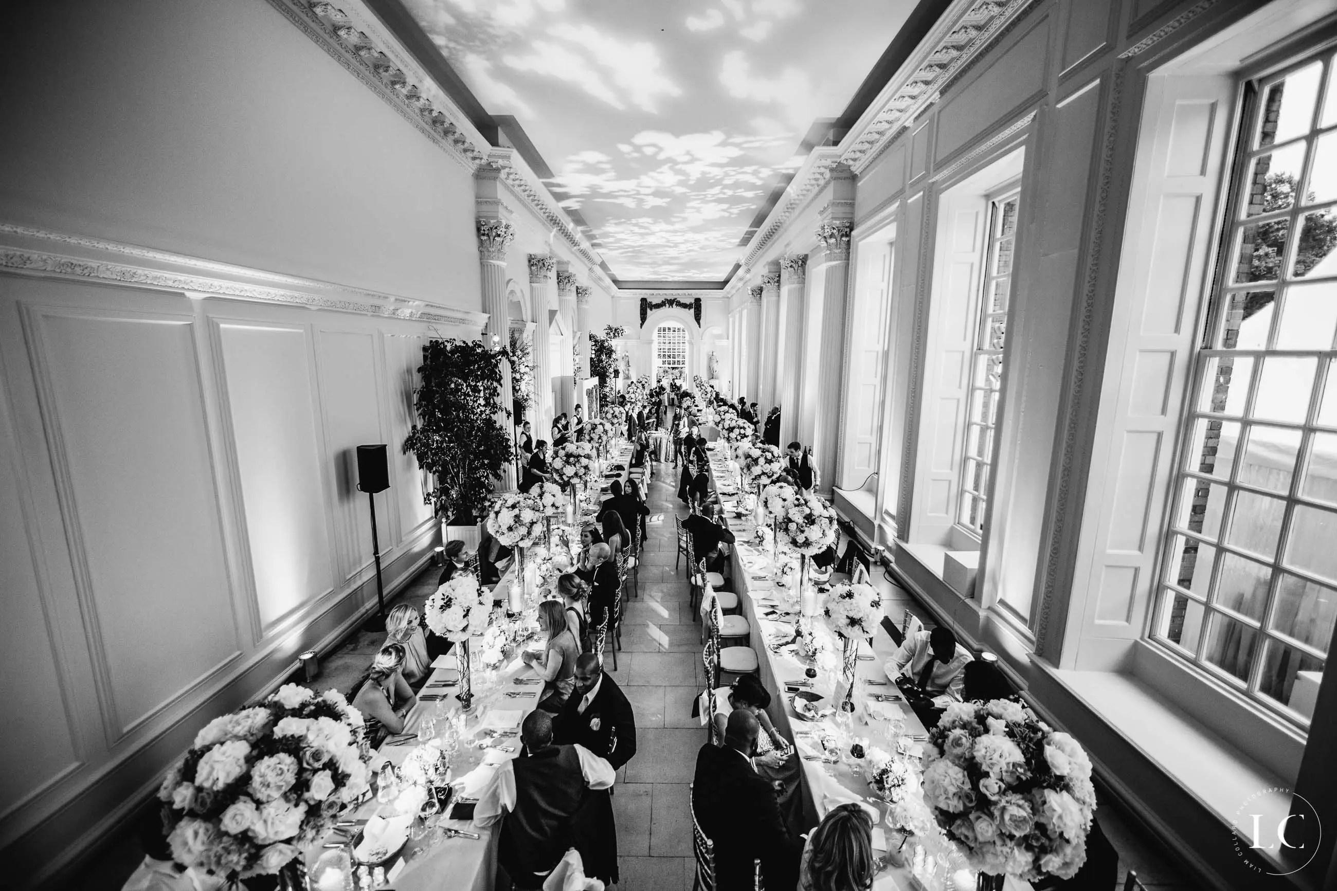 Wedding venue black and white