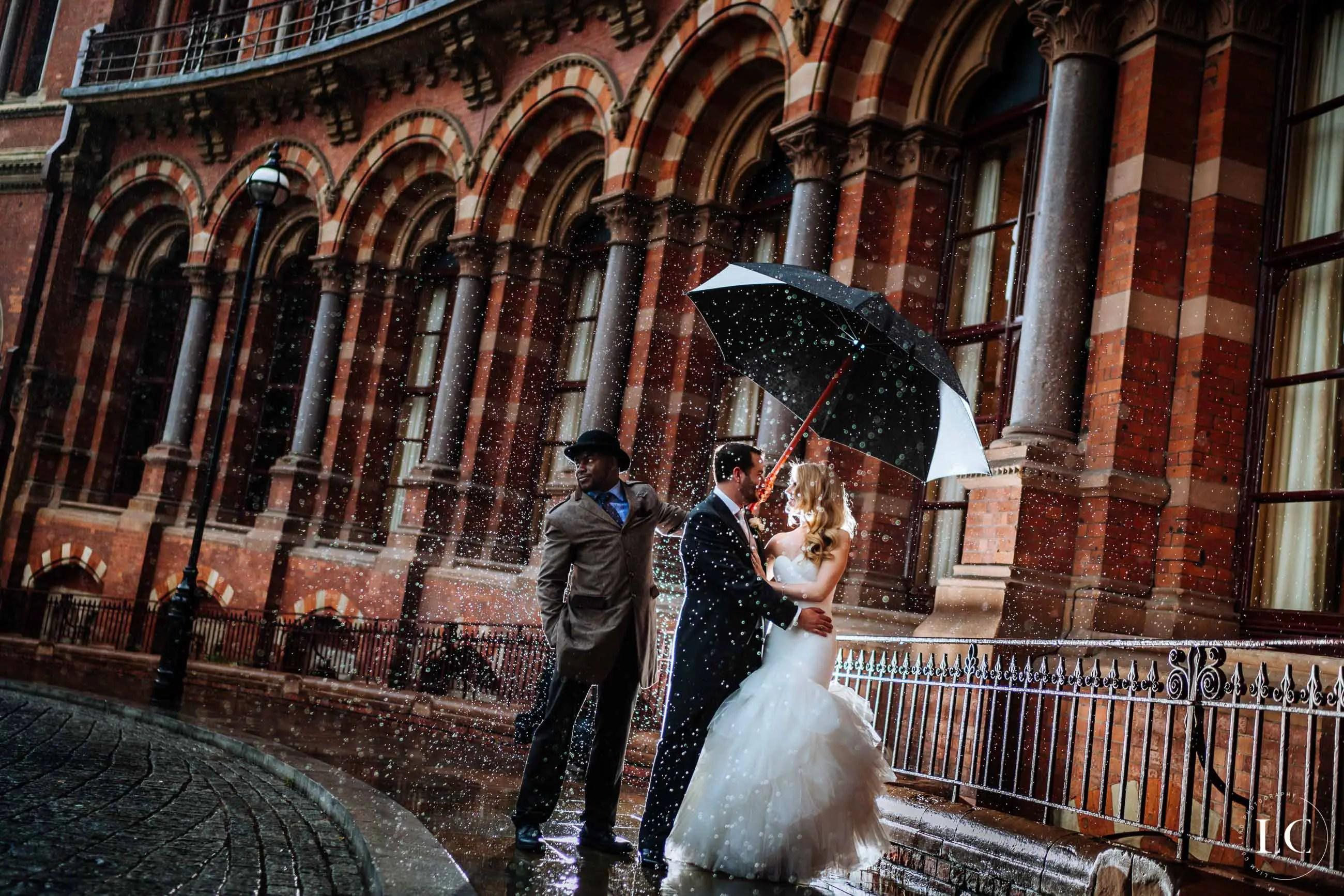 Couple in rain London
