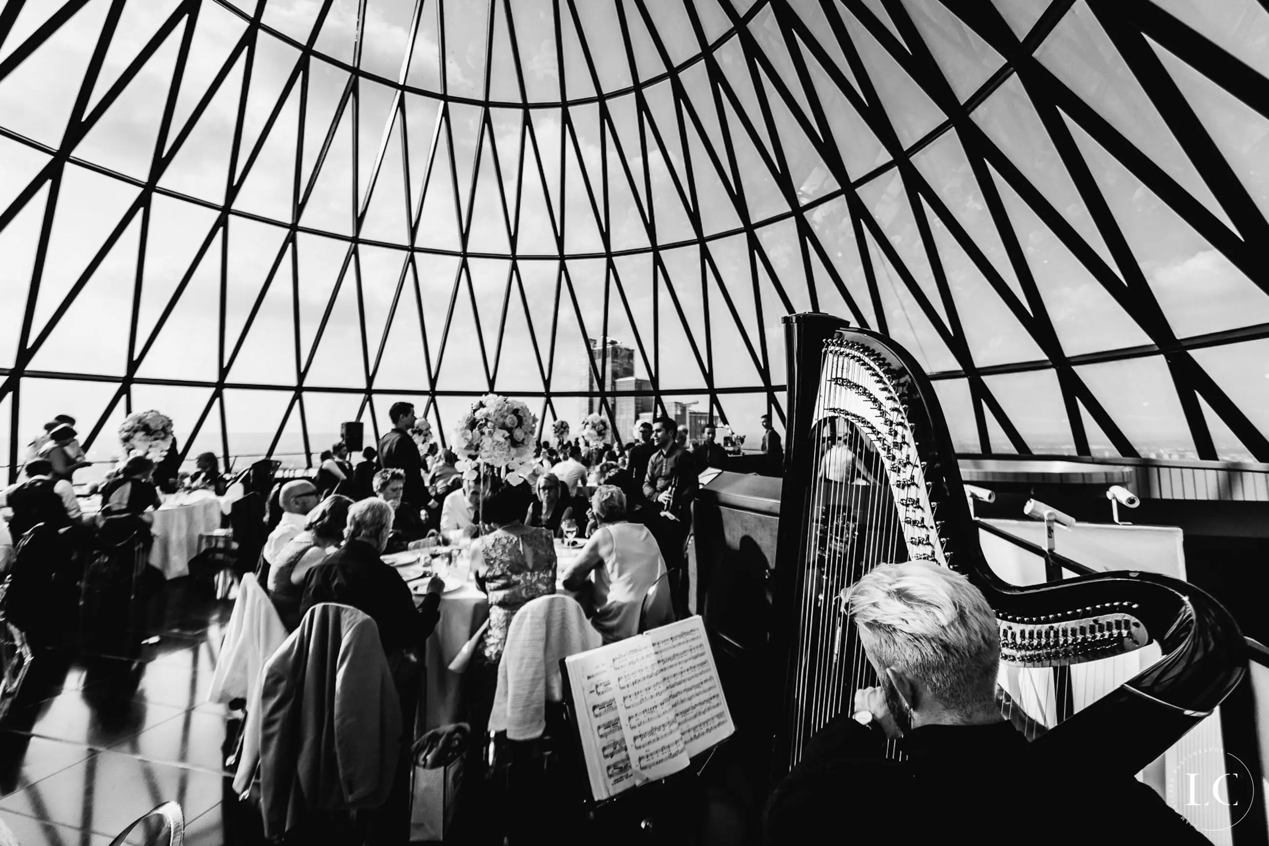 Black and white view The Gherkin