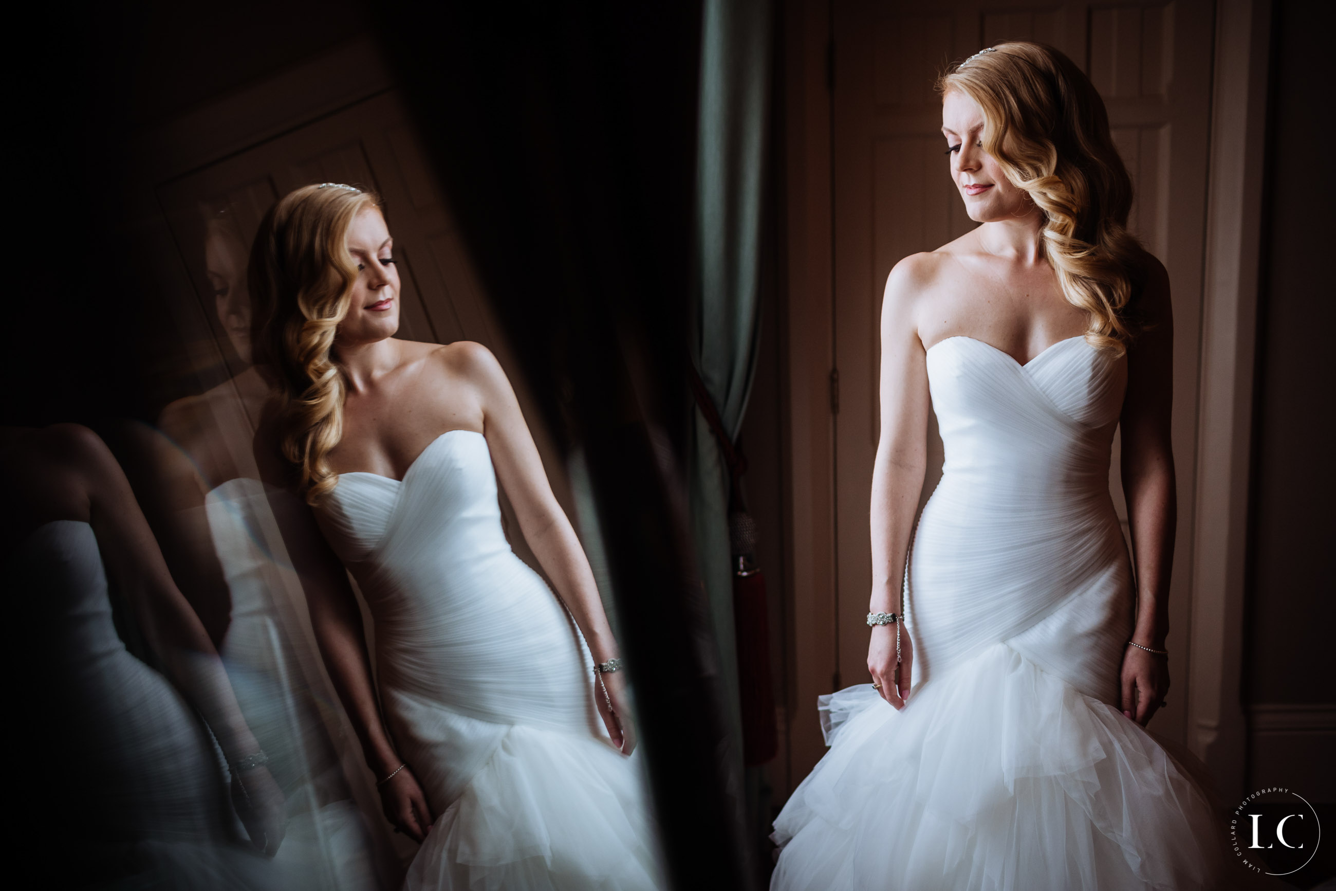 Bride looking in the mirror