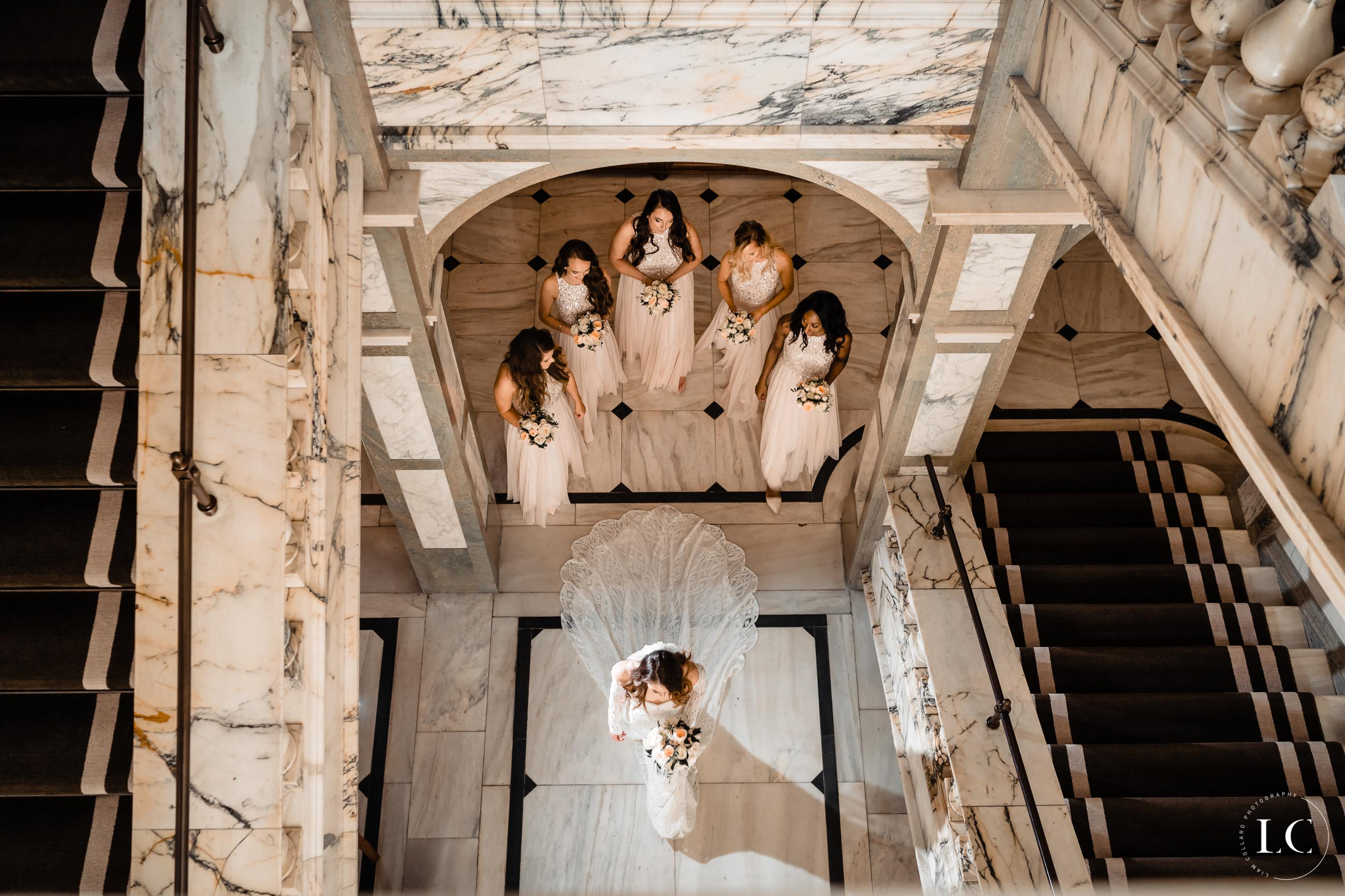 Taken from above of bride and bridesmaids