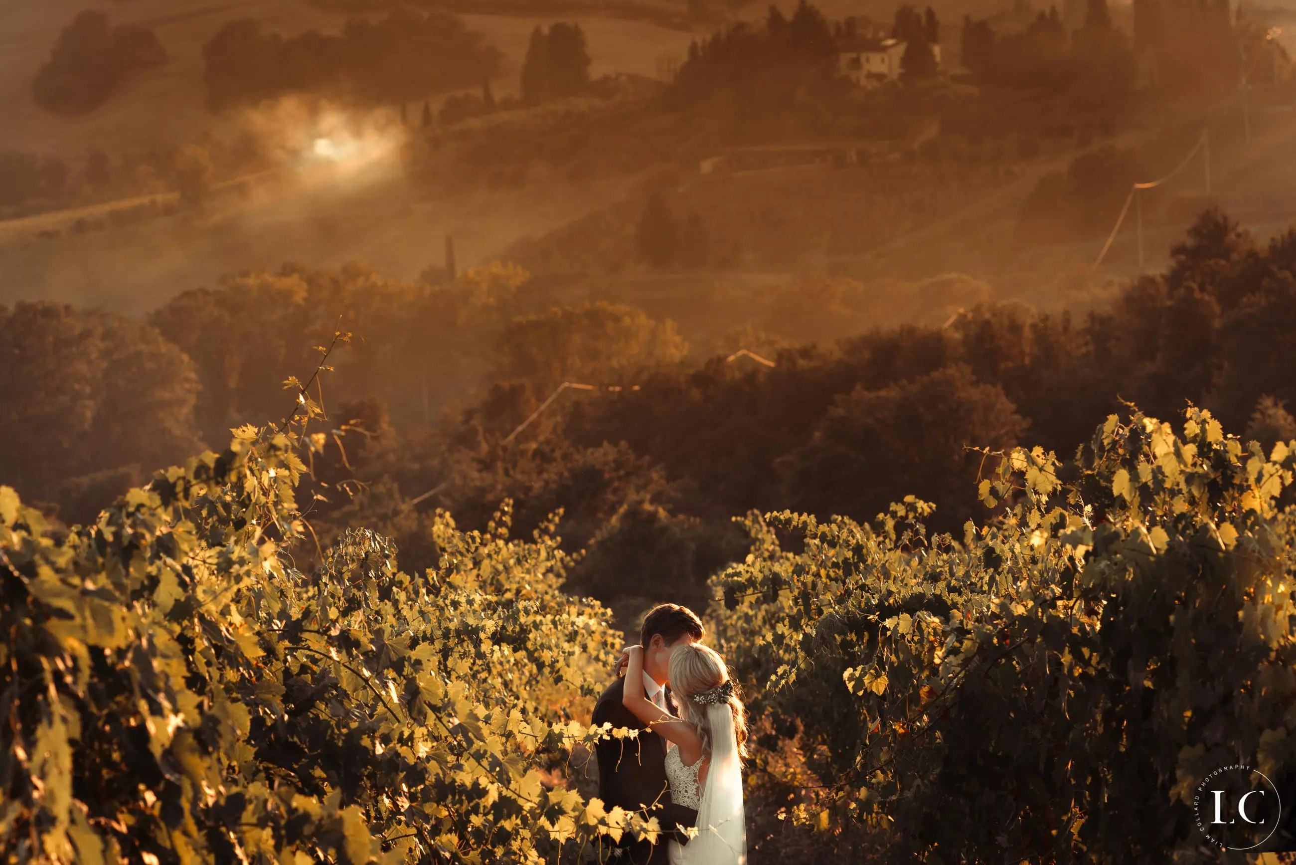 Bride and groom outside in nature