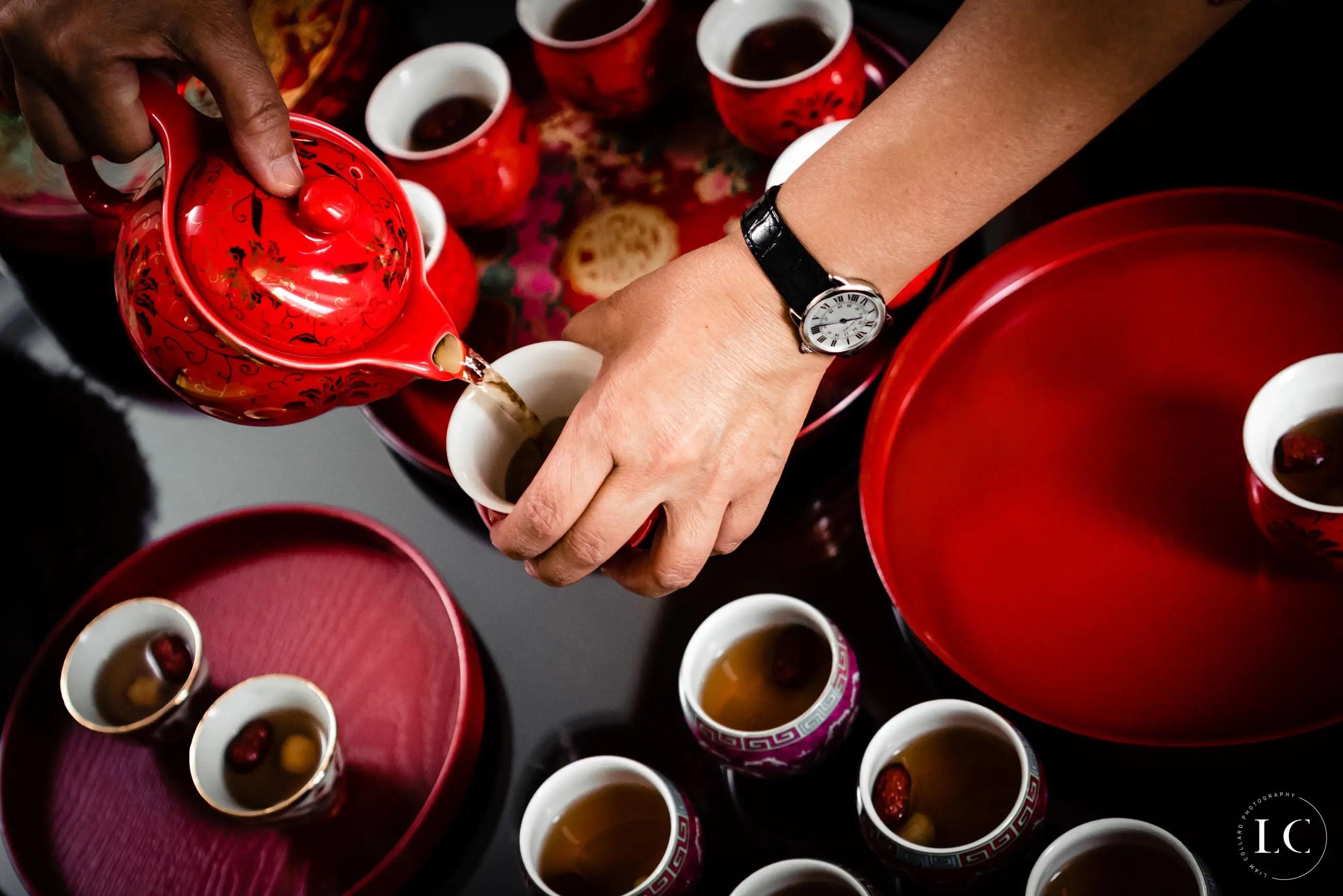 Drinking tea at Hong Kong wedding