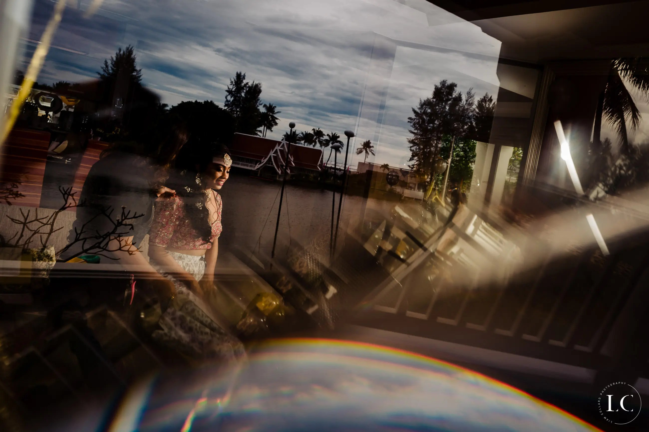 Distorted image of bride