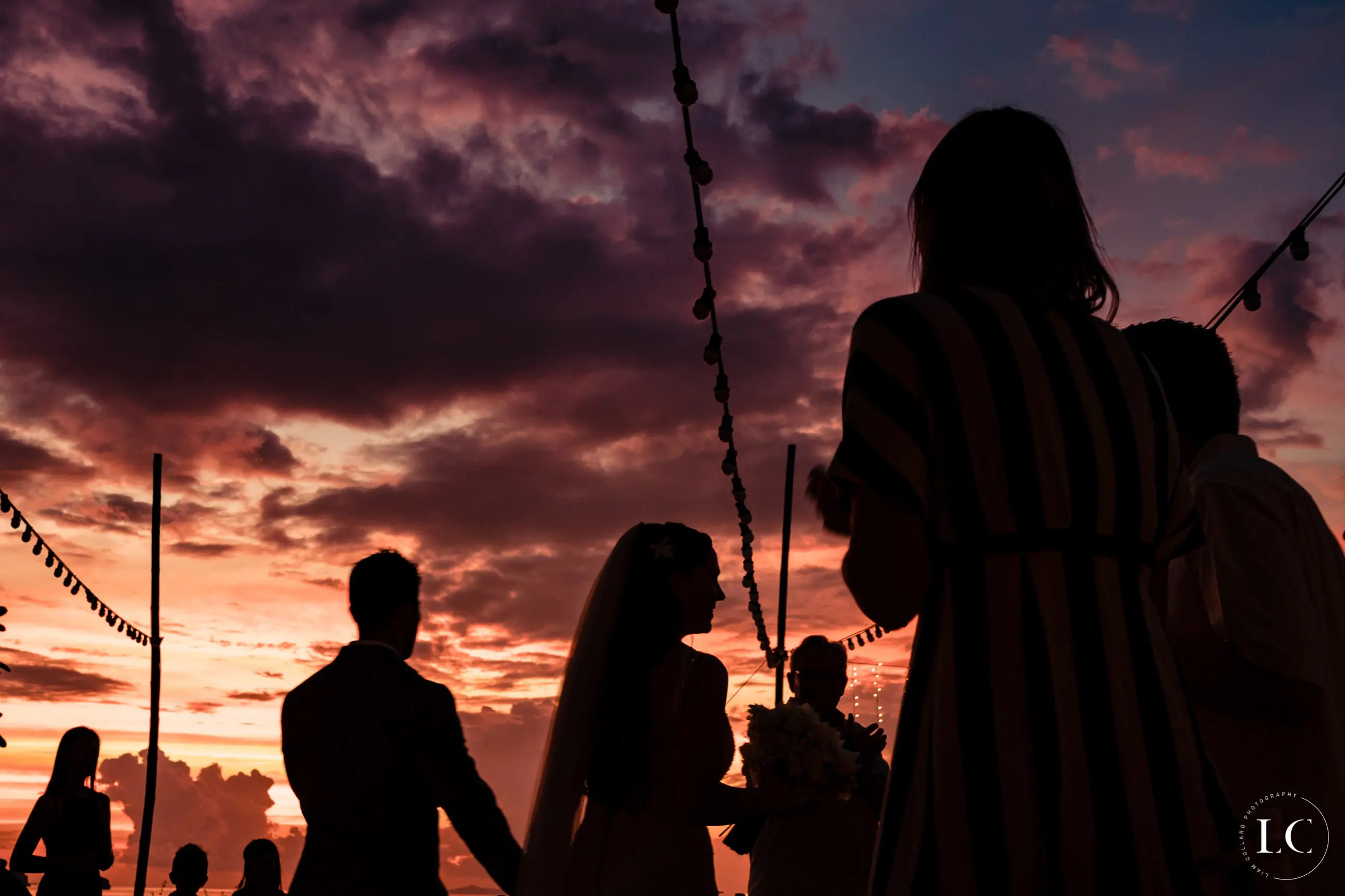 wedding guests sunset