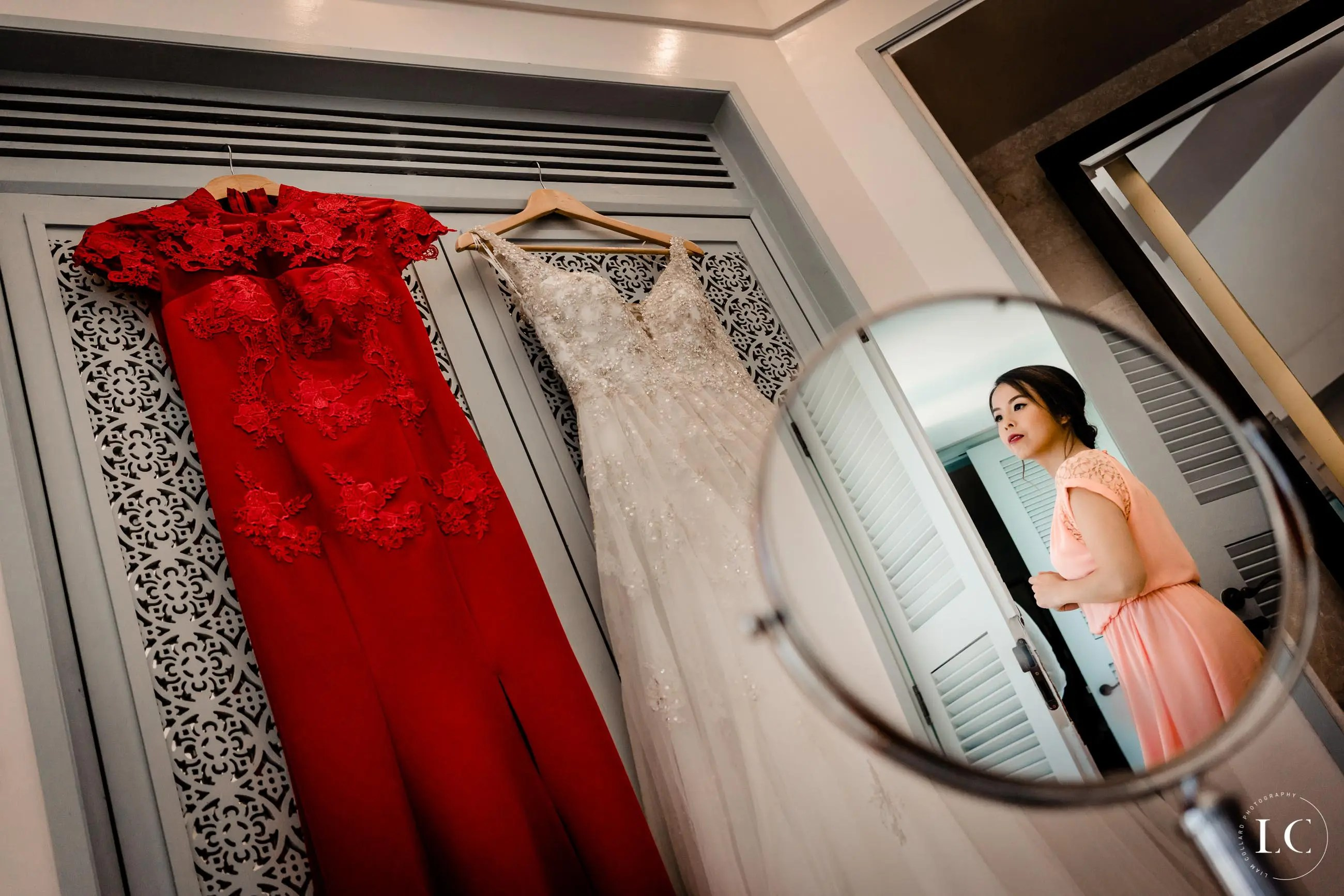 Reflection of bride in the mirror