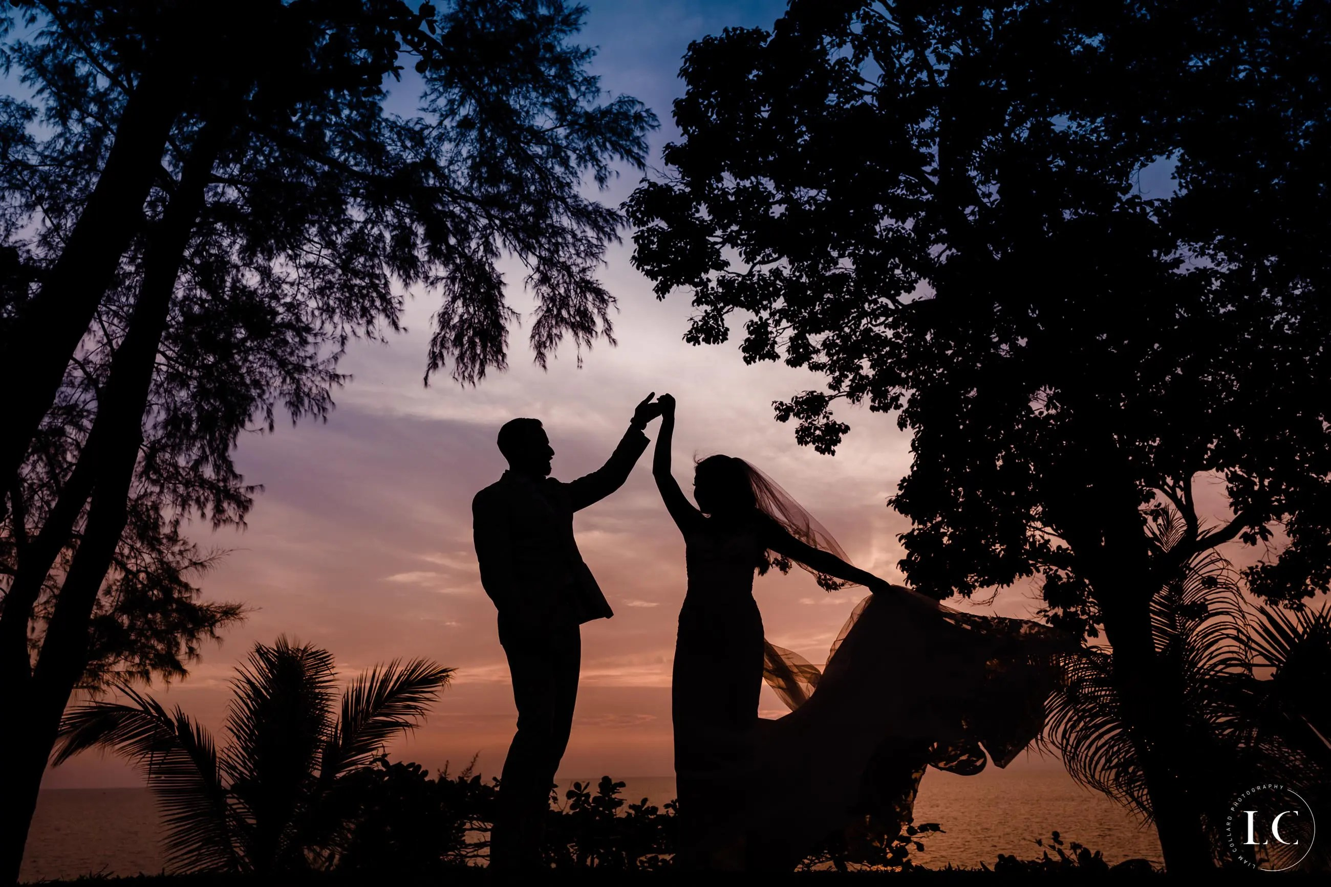 Bride and groom cheers at sunset