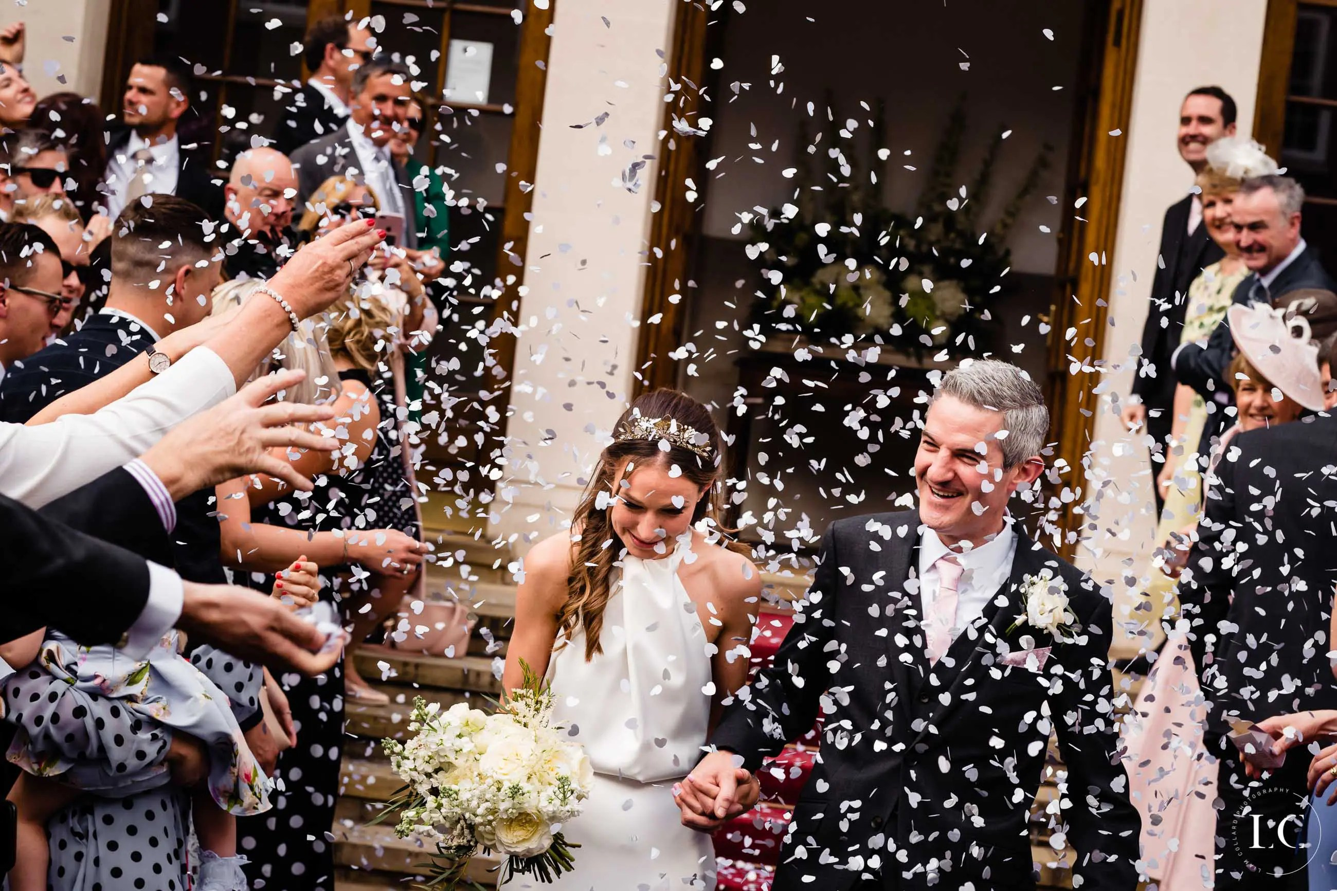 Confetti on newly weds