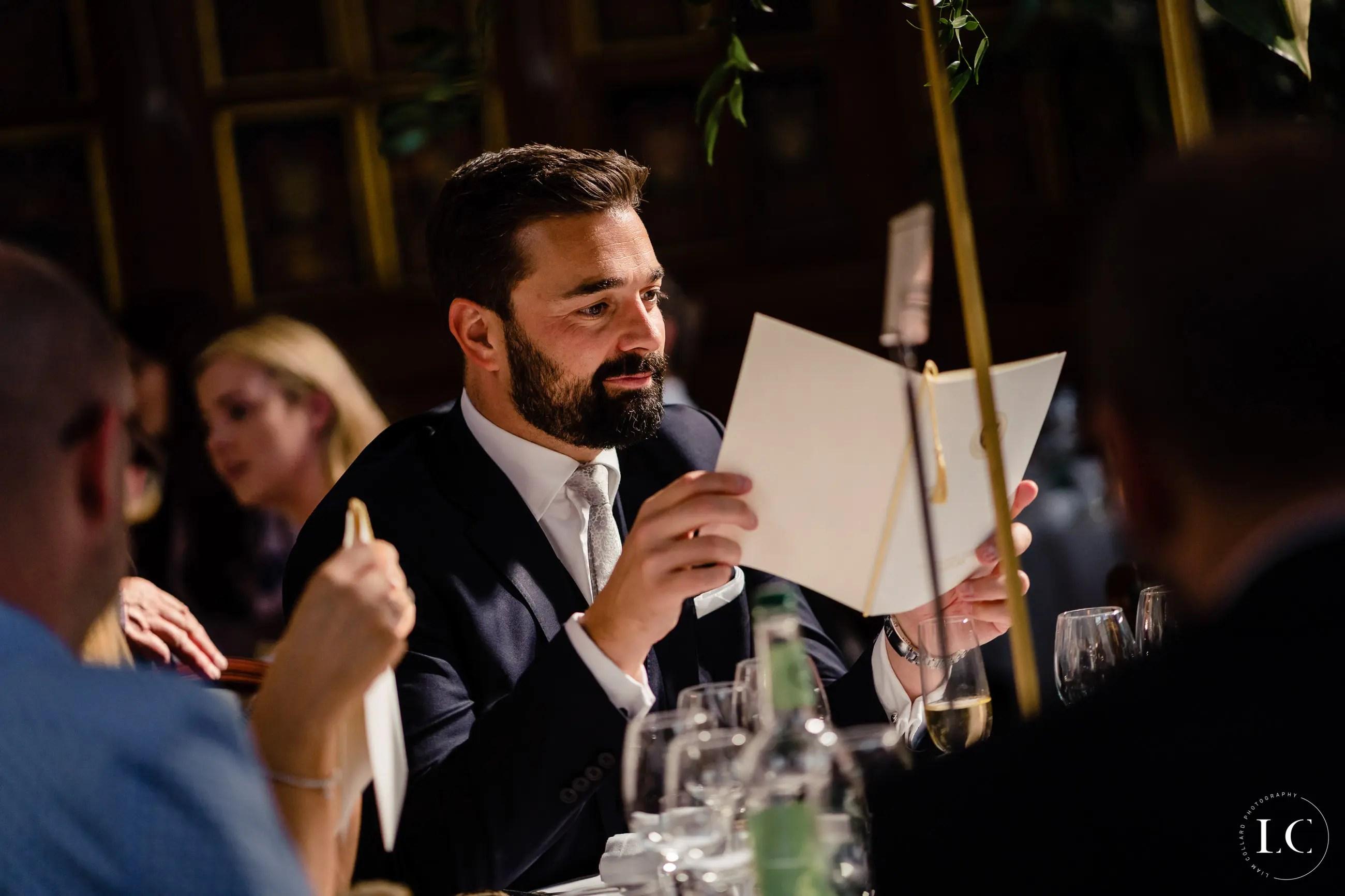 Best man doing speech