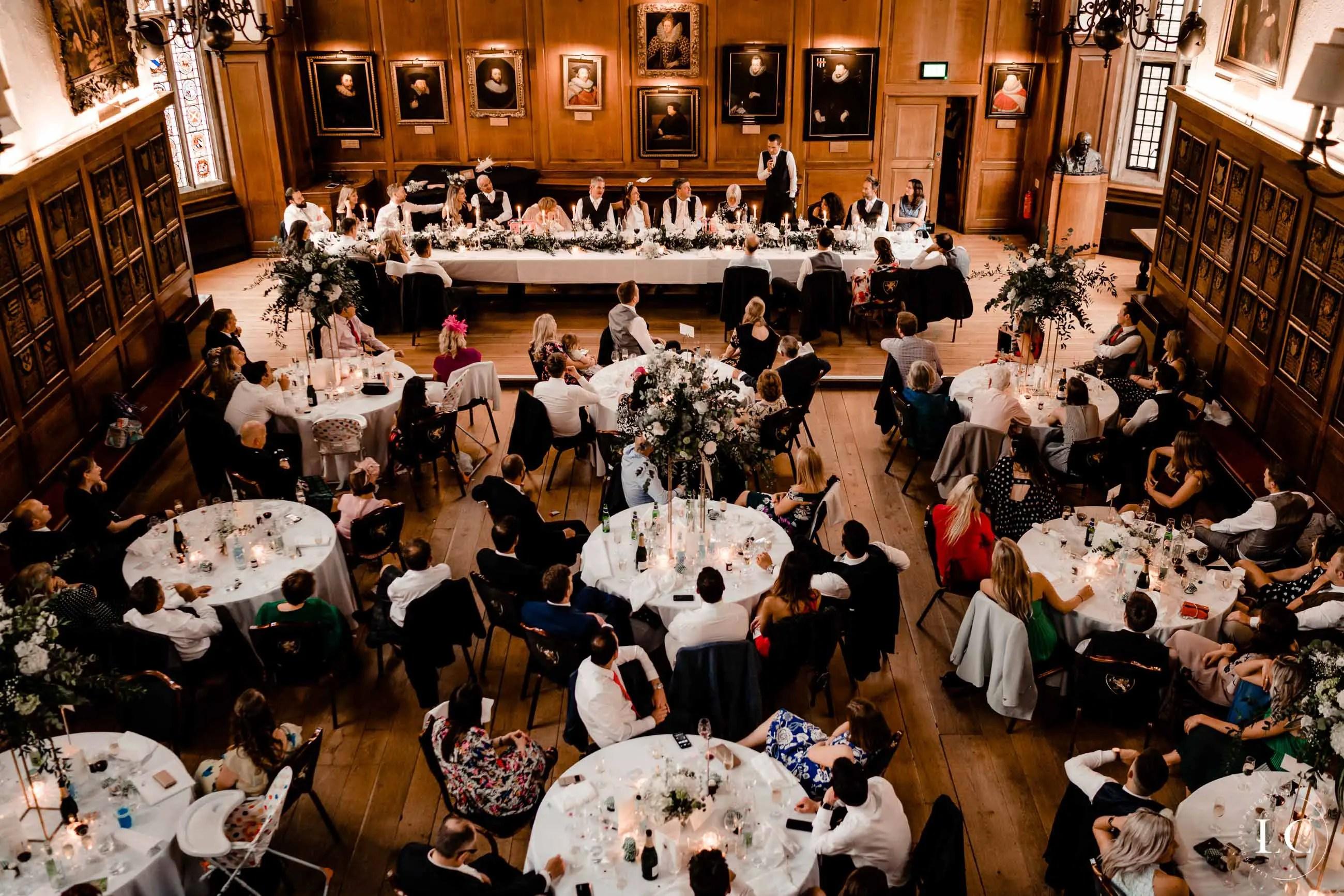 Wedding venue during dinner