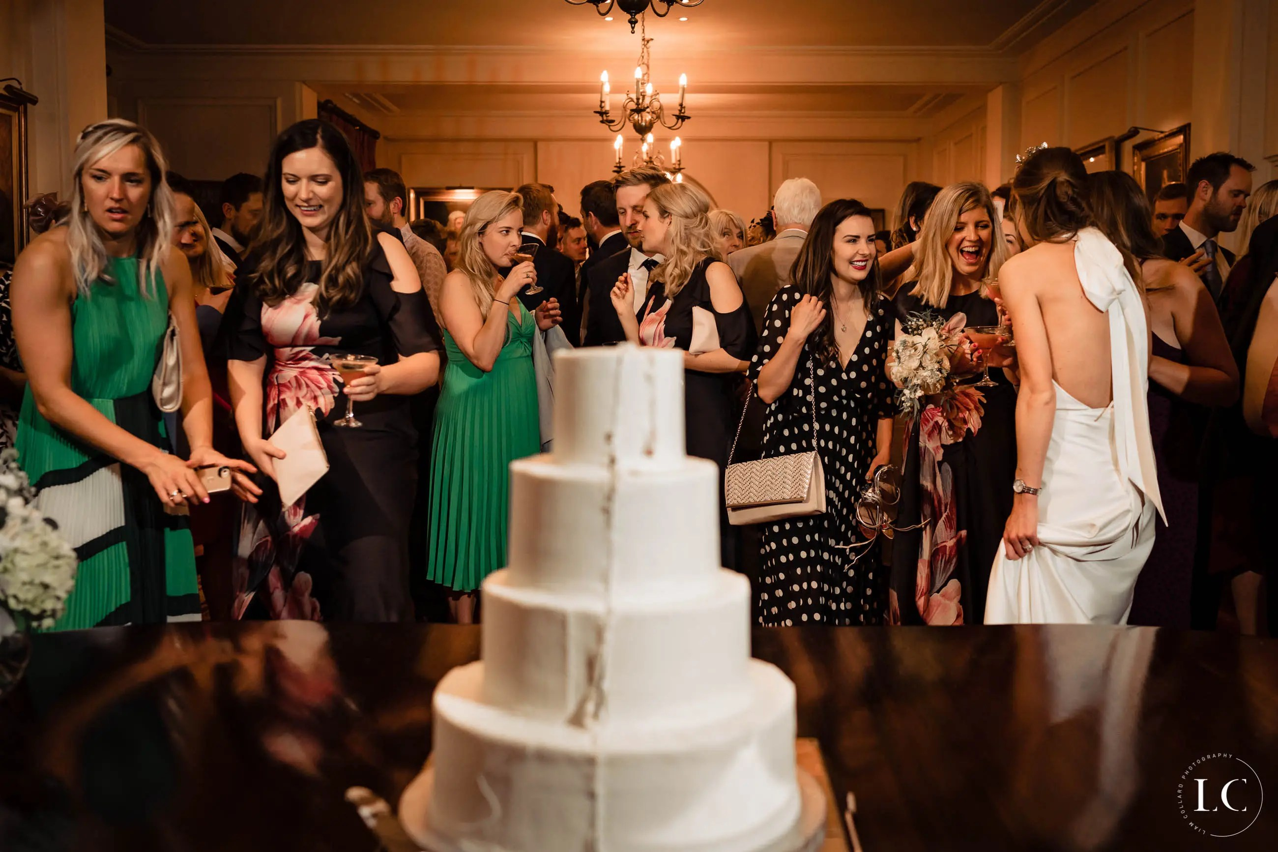Cake and wedding guests