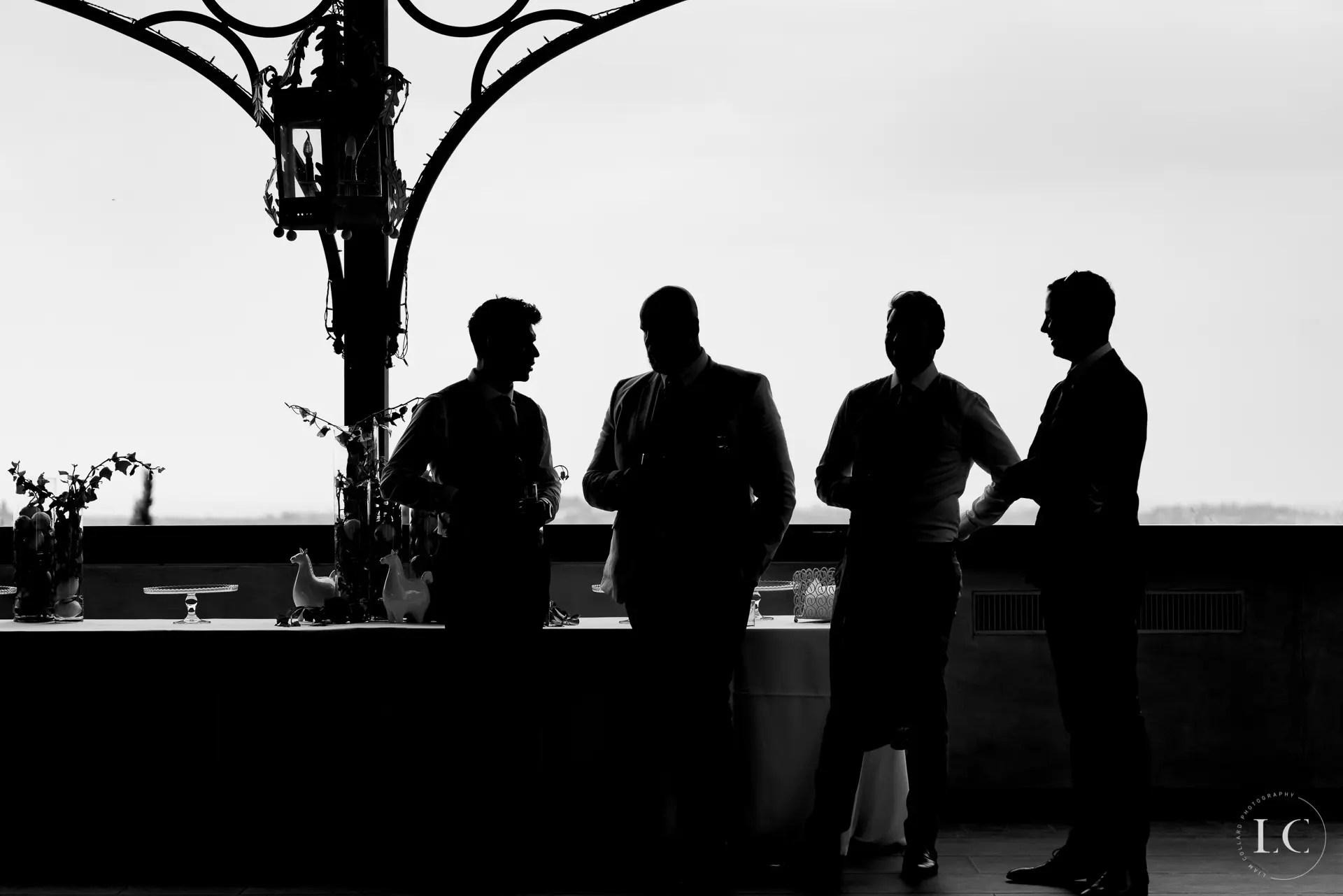 Shadows of groomsmen