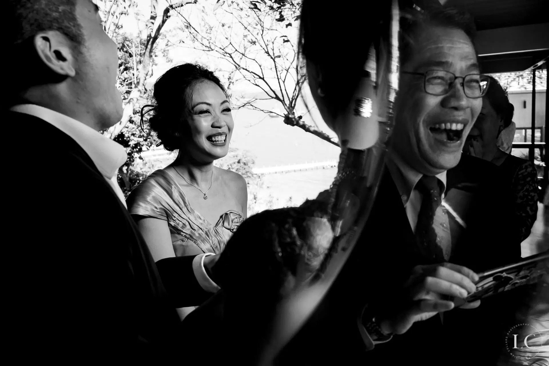 Smiling guests at a wedding