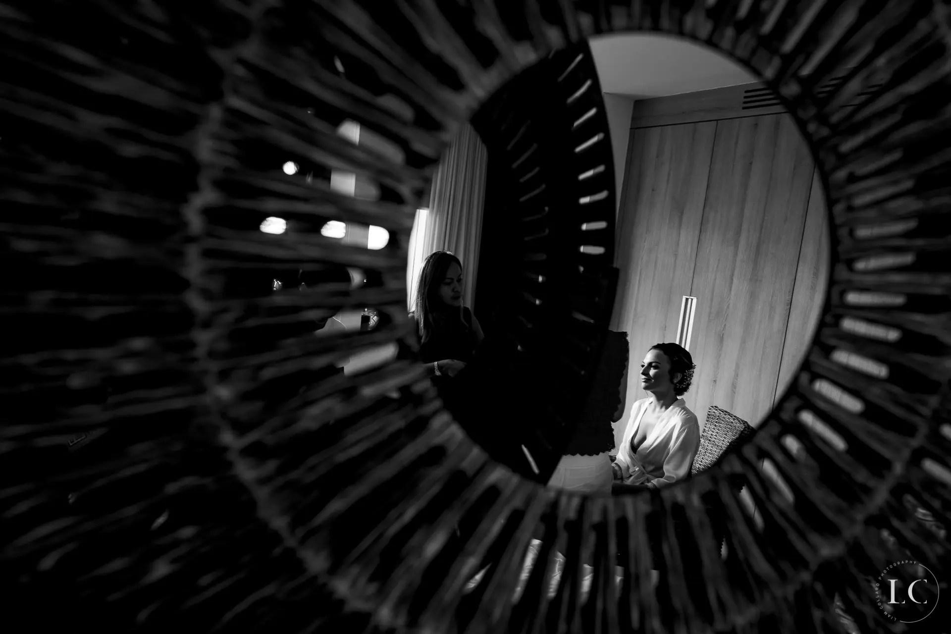 Mirror reflection of bride