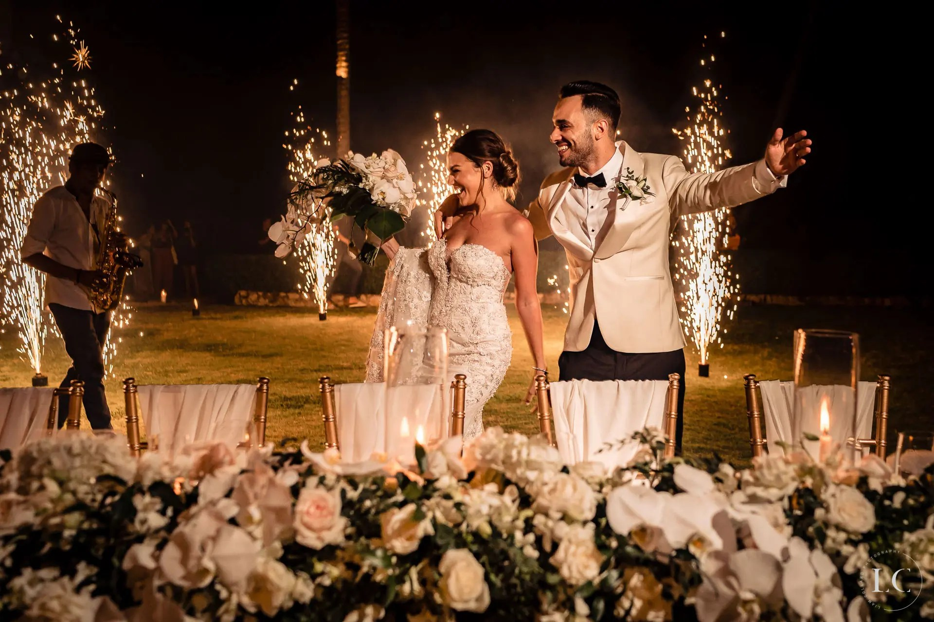Bride and groom giving toast wedding