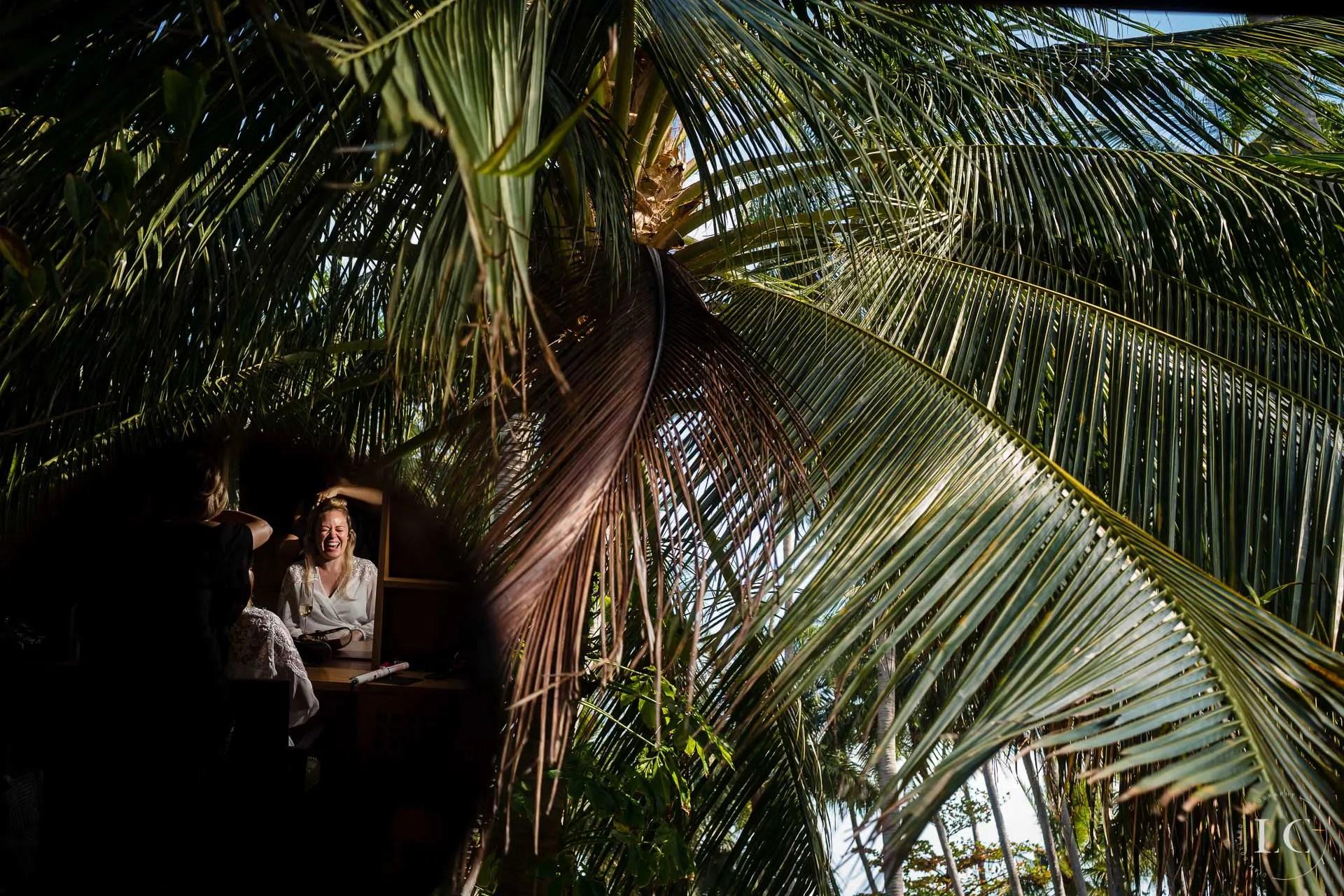 Palm trees wedding day
