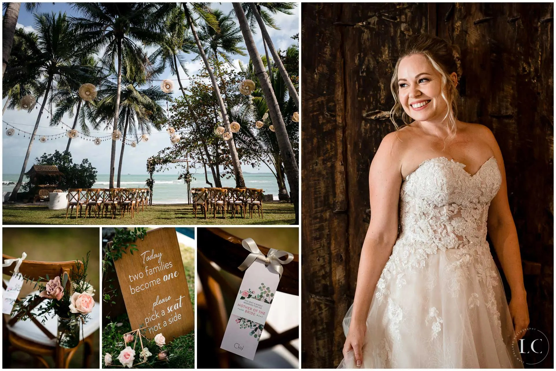 Collage of bride and wedding
