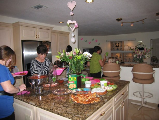 We have these awesome granite countertops in our updated kitchen - here's a pic from a party we recently threw!
